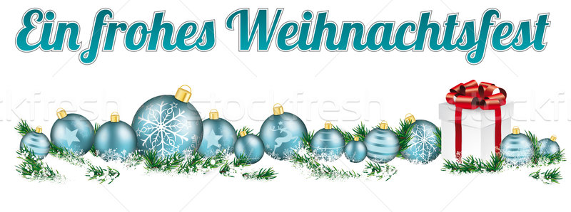 Christmas Cyan Baubles Headline Snow Gift Frohes Weihnachtsfest Stock photo © limbi007