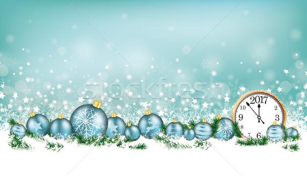Ciano flocos de neve relógio natal Foto stock © limbi007