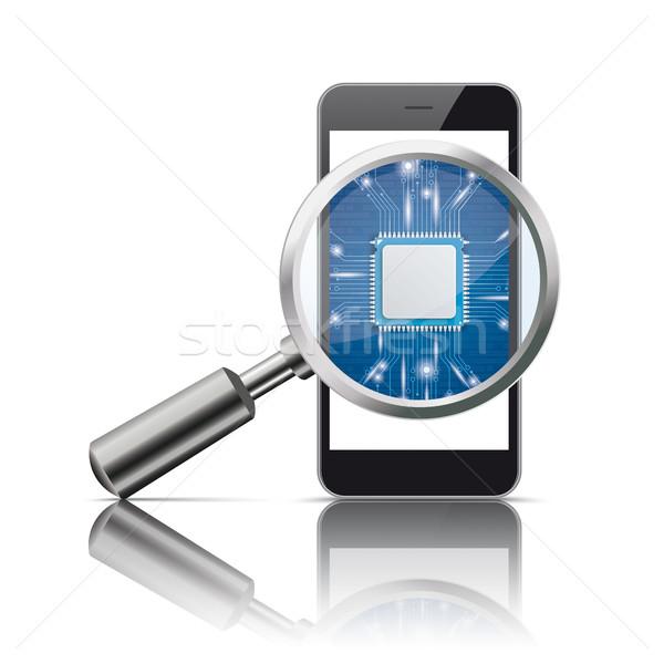 Nero smartphone lente di ingrandimento microchip specchio bianco Foto d'archivio © limbi007