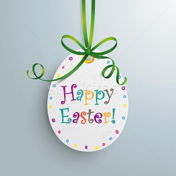 Happy Easter Price Sticker Egg Green Ribbon Stock photo © limbi007