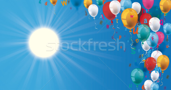 Colored Letters Balloons Header Sun Blue Sky Stock photo © limbi007