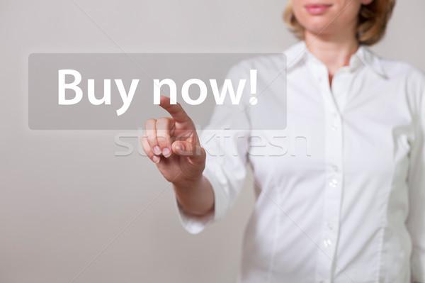 Femme écran tactile texte Shopping marché Photo stock © limbi007