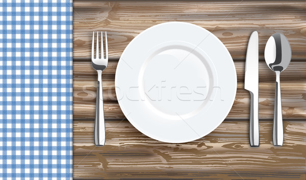 Table With Blue Checked Table Cloth Fork Knife Plate Stock photo © limbi007
