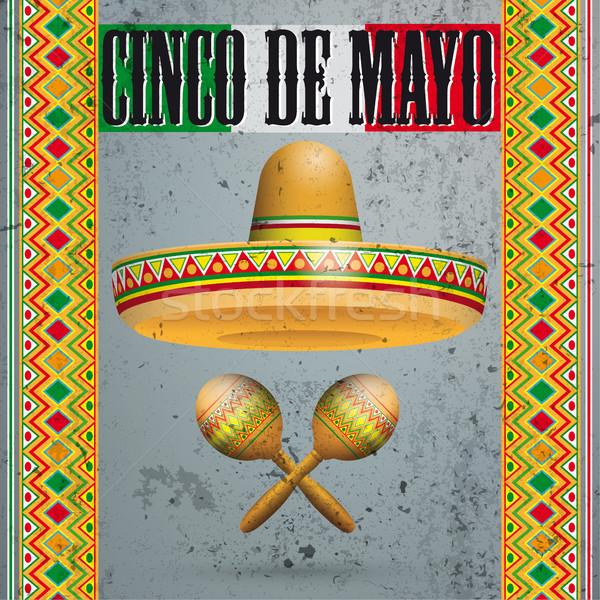 Concrete Mexican Ornaments Sombrero Maracas Cinco de Mayo Stock photo © limbi007