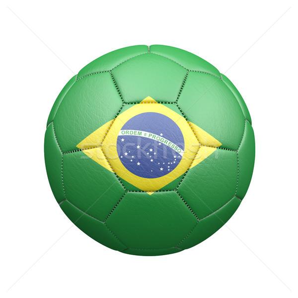 Leder Fußball Brasilien Flagge weiß 3D-Darstellung Stock foto © limbi007