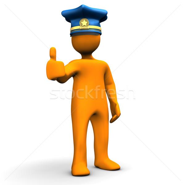 Ok rendőrség narancs rajzfilmfigura sapka szimbólum Stock fotó © limbi007