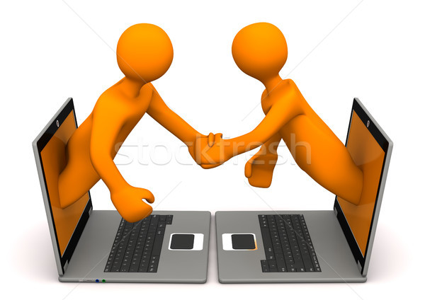 Manikins Laptops Handshake Stock photo © limbi007