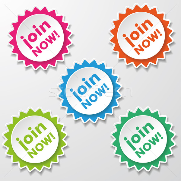 Join Now Colorful Star Paper Labels Stock photo © limbi007