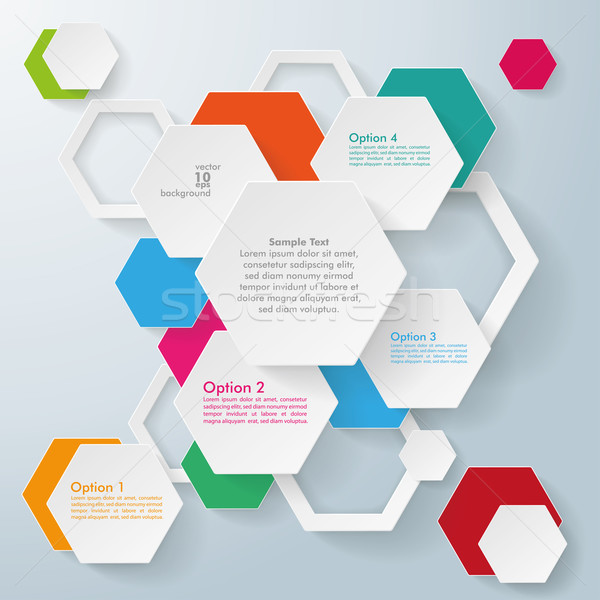 Infographic Colored Paper Hexagons Stock photo © limbi007