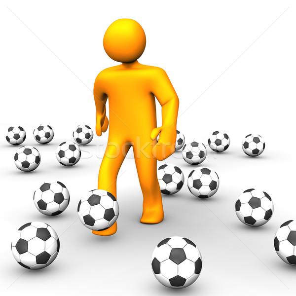 Emberi futballabda 3D 3d illusztráció külső humanoid Stock fotó © limbi007