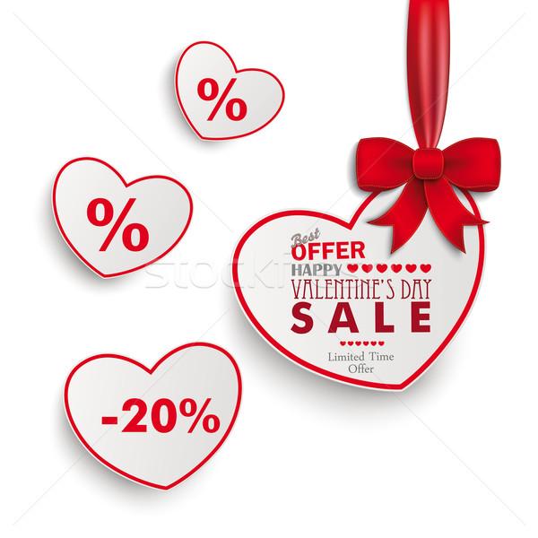 Stock fotó: Fehér · vásár · szívek · vörös · szalag · papír · eps