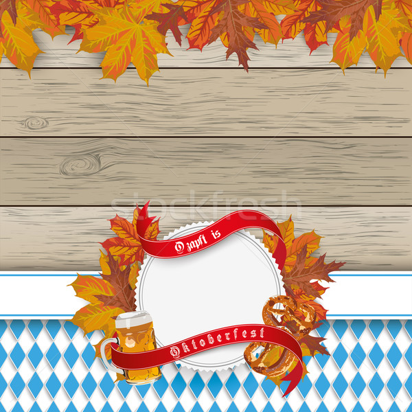 Stock photo: Oktoberfest Flyer Wood Foliage Emblem Beer Pretzel