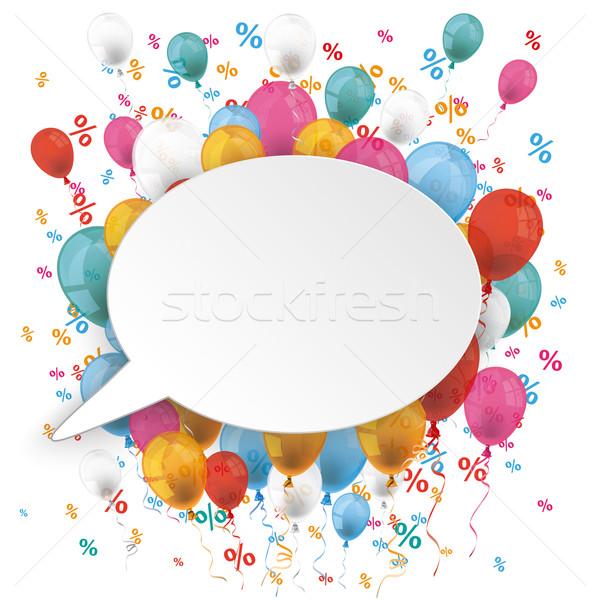 White Oval Speech Bubble Balloons Percents Stock photo © limbi007
