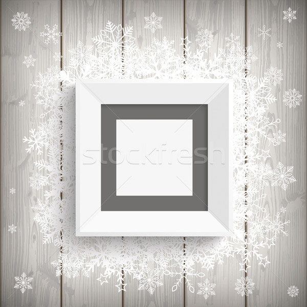 Picture Frame Wood Snowflakes Stock photo © limbi007