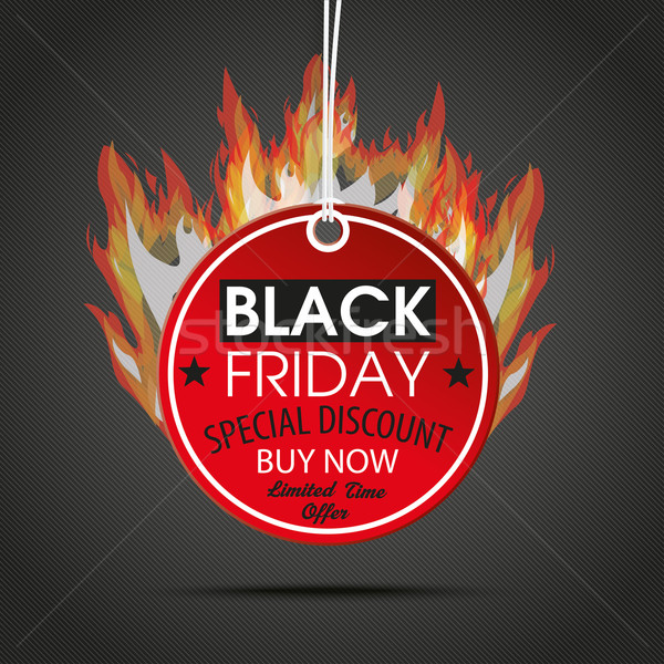Round Price Sticker Black Friday Dark Fire Stock photo © limbi007