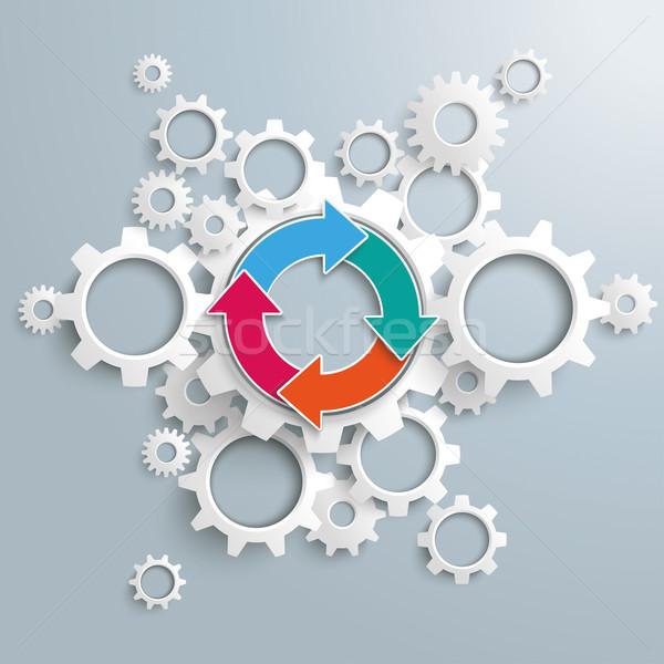 Ring Cycle Arrows Infographic Gear Machine Stock photo © limbi007