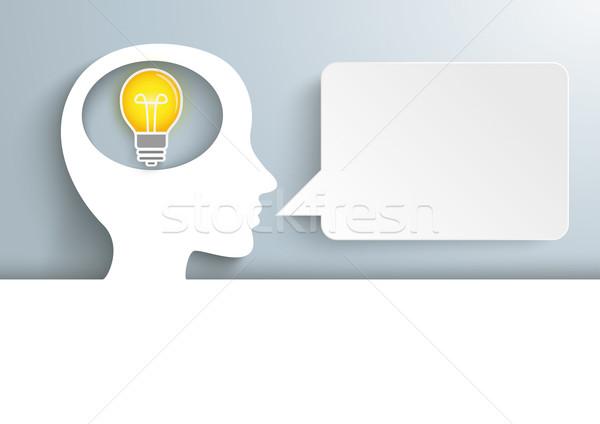 Human Head Cover Bulb Speech Bubble Stock photo © limbi007