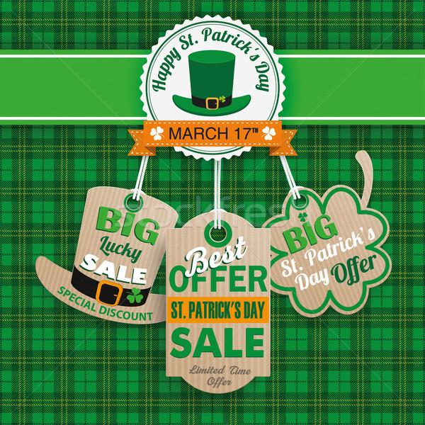 St Patricks Day 3 Carton Price Stickers Tartan Stock photo © limbi007