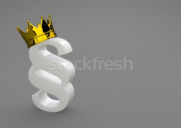 Weiß Porzellan Absatz golden Krone 3D-Darstellung Stock foto © limbi007