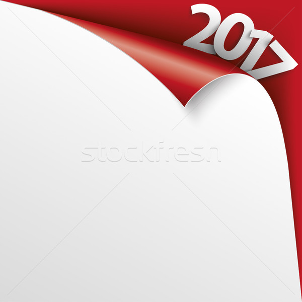 2017 Scrolled Corner Red Paper Cover Stock photo © limbi007
