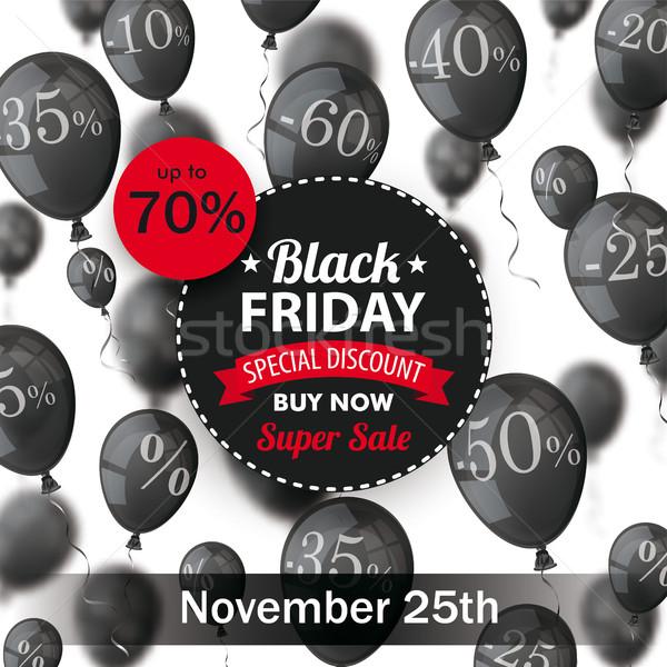 Black Friday Circle Label Balloons Percents Stock photo © limbi007