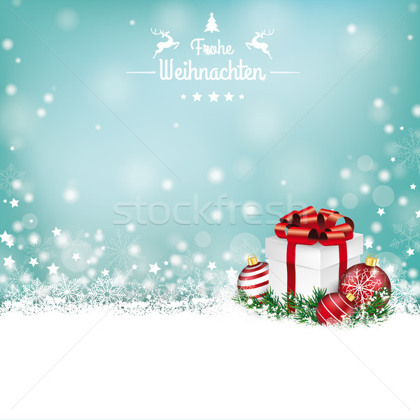 Christmas Gift Baubles  Snow Bokeh Stars Frohe Weihnachten Stock photo © limbi007