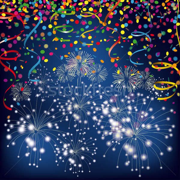 Silvester Night Confetti Fireworks Ribbons Stock photo © limbi007