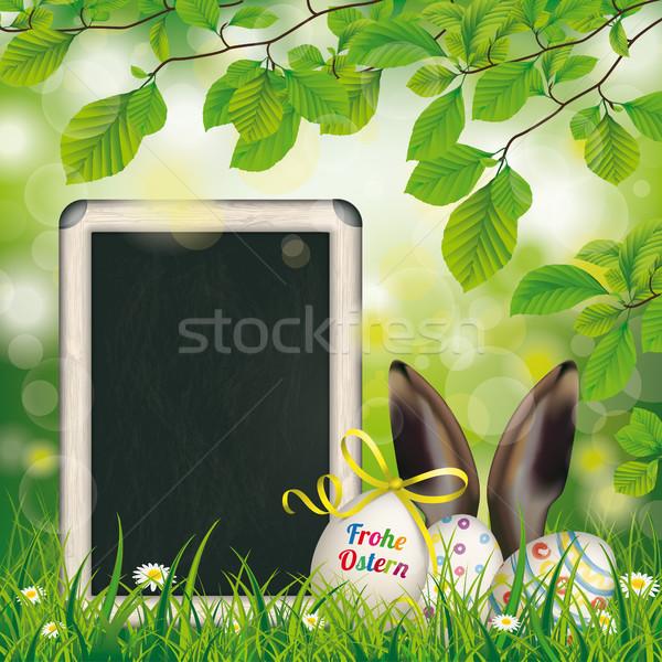 Kellemes húsvétot tojások iskolatábla nyúl fülek szöveg Stock fotó © limbi007