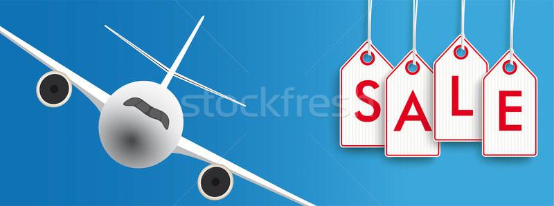Hanging Price Stickers Flights Jet Sale Header Stock photo © limbi007