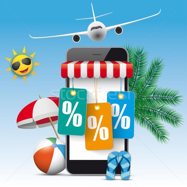 Smartphone Shop Marquee Last Minute Flight Price Stickers Percen Stock photo © limbi007