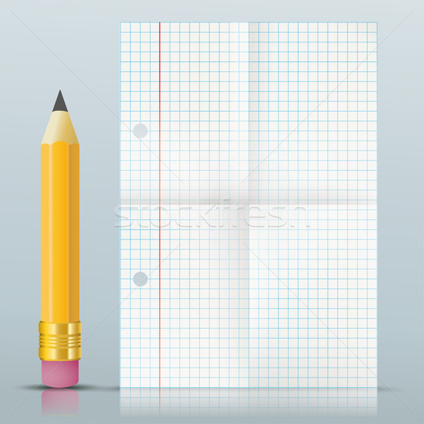 Pencil Folded Checked Paper Mirror Stock photo © limbi007