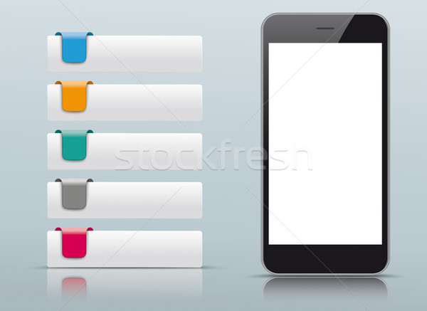 5 Colored Tabs Smartphone Stock photo © limbi007