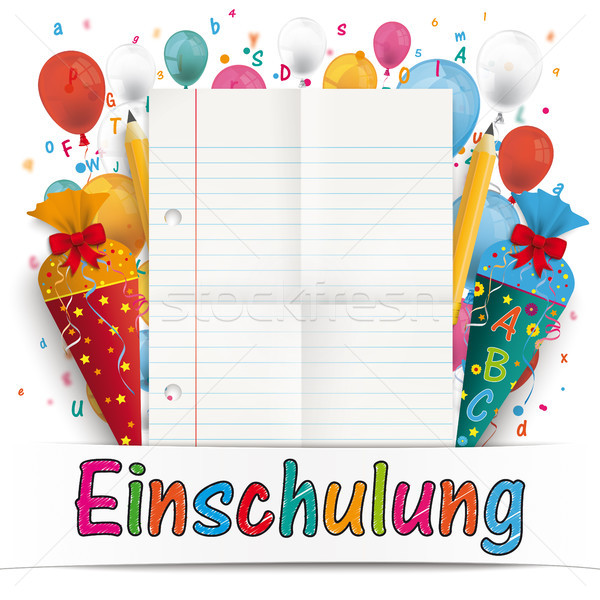 Banner Balloons Letters Folded Lined Paper Einschulung Stock photo © limbi007