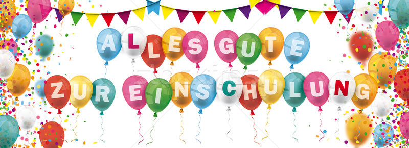 Colored Confetti Balloons Festoons Header Alles Gute Zur Einschu Stock photo © limbi007