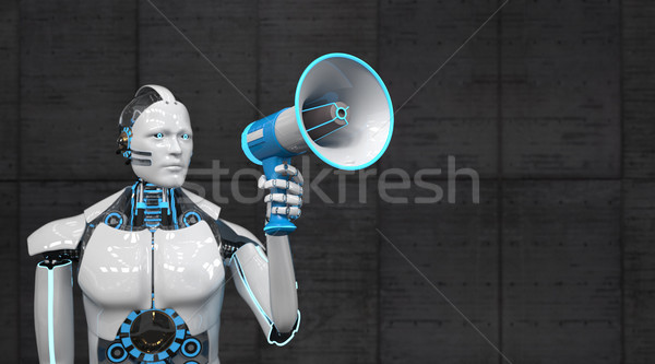 Blanche robot bleu orateur mégaphone 3d illustration Photo stock © limbi007