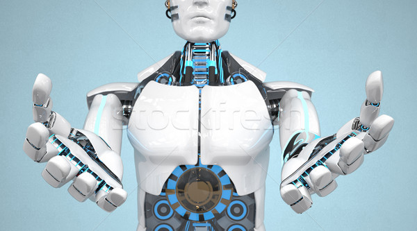 Blanche robot deux mains 3d illustration industrie Photo stock © limbi007