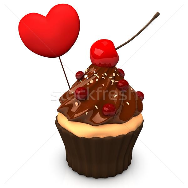 Cupcake Choco Heart Stock photo © limbi007