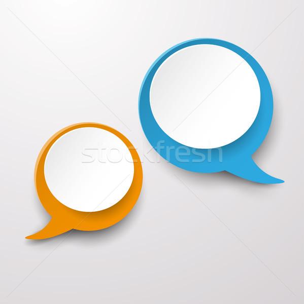 Two Communication Speech Bubble Labels Stock photo © limbi007