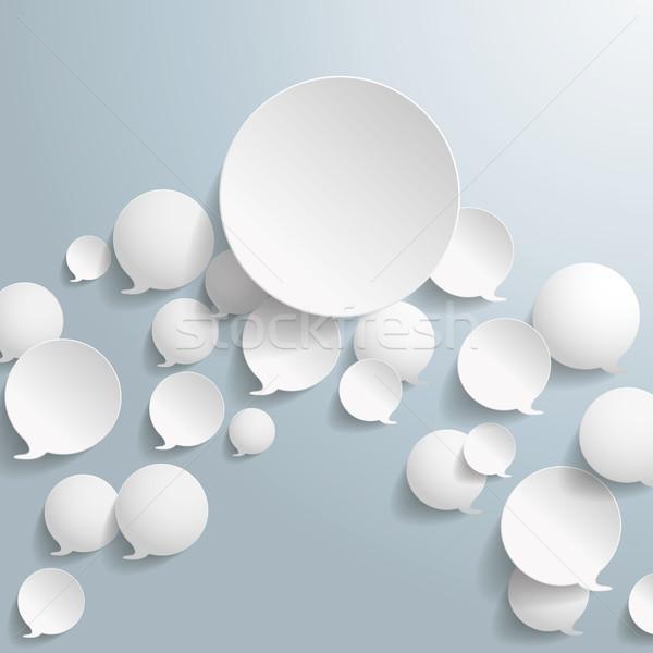 White Speech Bubbles With Big Circle Stock photo © limbi007