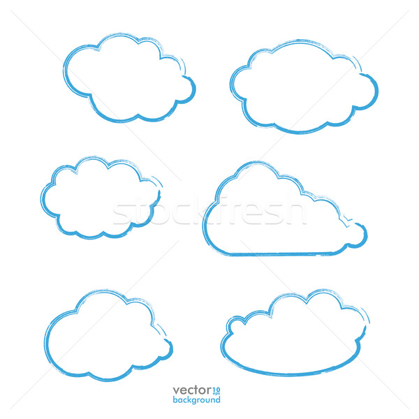 Handdrawn Blue Clouds Set Stock photo © limbi007