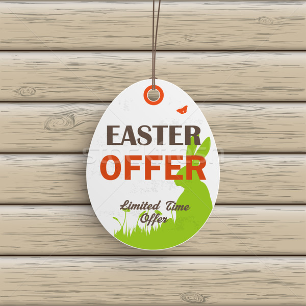 Easter Offer Egg Price Sticker Wood Stock photo © limbi007