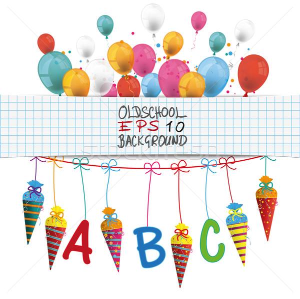 Candy Cones Checked Banner Balloons Stock photo © limbi007