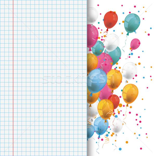 Colored Balloons Checked School Paper Stock photo © limbi007