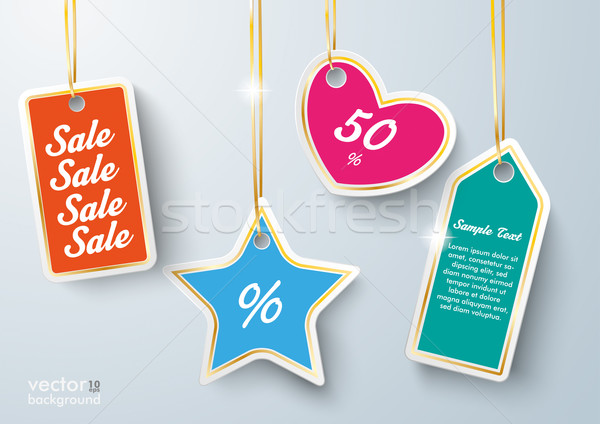 Colored Price Sticker Golden Ribbons Stock photo © limbi007