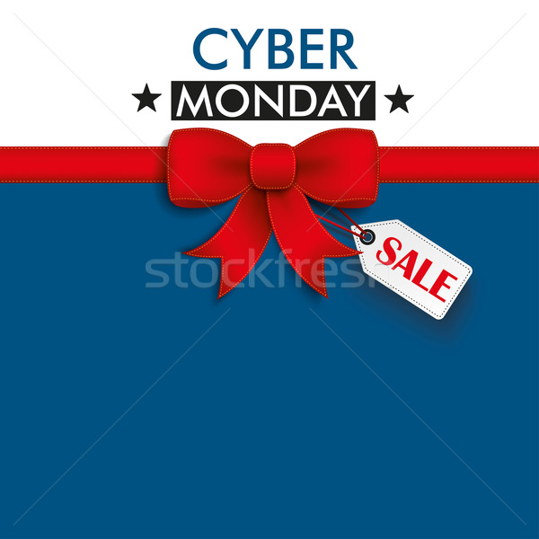 Red Ribbon Cyber Monday Shopmark Stock photo © limbi007