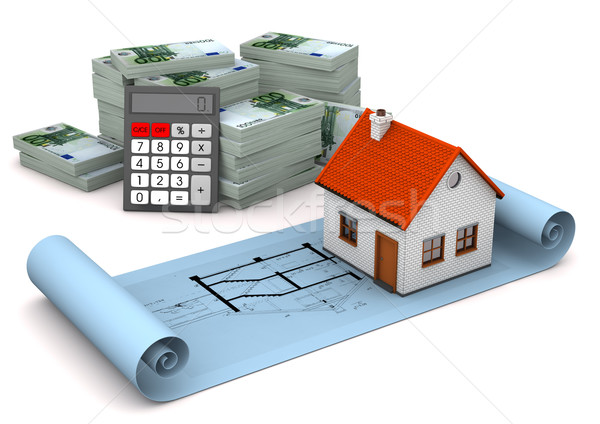 House Construction Plan Euro Notes Calculator Stock photo © limbi007