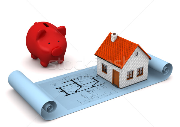 Architectural Drawing House Piggy Bank Stock photo © limbi007