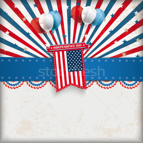 Independence Day retro Sun Balloons USA Flag Stock photo © limbi007
