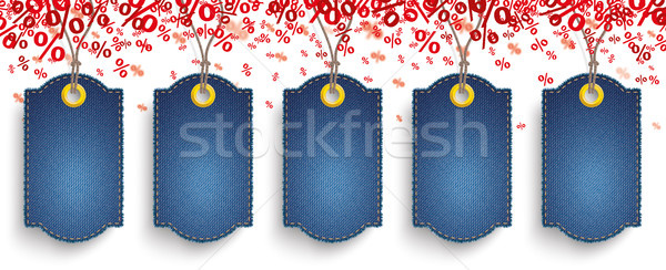 Red Percents Confetti 5 Jeans Price Stickers SH Stock photo © limbi007