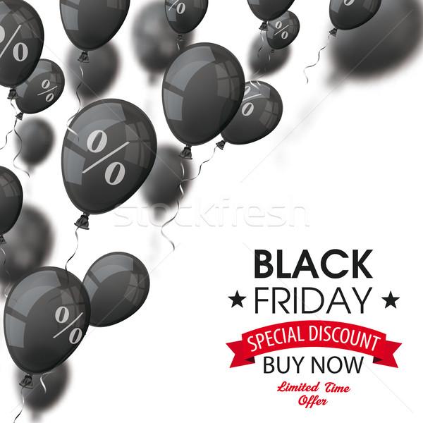 Black friday balões cobrir preto texto branco Foto stock © limbi007